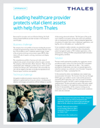 Leading healthcare provider protects vital client assets with help from Thales