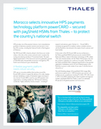 Morocco Selects Innovative HPS Payments Technology Platform Powercard – Secured With Payshield HSMs From Thales – To Protect The Country's National Switch