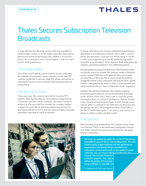 Thales Secures Subscription Television Broadcasts - Case Study