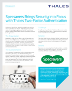 Specsavers Brings Security into Focus with Thales Two-Factor Authentication - Case Study