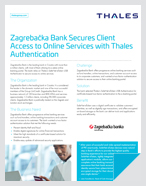 Zagrebačka Bank Secures Client Access to Online Services with Thales Authentication - Case Study