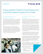 Energy Operator Protects Critical Infrastructure Using High Speed Encryptors from Thales - Case Study