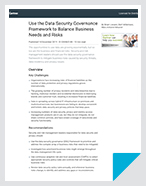 Use the Data Security Governance Framework to Balance Business Needs and Risks - Report