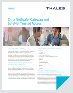 Citrix NetScaler Gateway and SafeNet Trusted Access