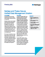 NetApp and Thales Secure Unified Data Management - Solution Brief