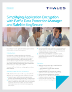 Simplifying Application Encryption with Baffle Data Protection Manager and SafeNet KeySecure - Solution Brief