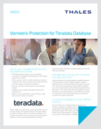 Vormetric Protection For Teradata Database: Delivering Robust Security To Databases And Big Data Environments - Solution Brief
